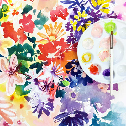 Garden in bloom, floral pattern with modern art. Original painting of vibrant flowers by Ingrid-Sanchez.
