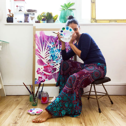 Watercolor artist Ingrid Sanchez, AKA CretiveIngrid in her studio. London 2018.