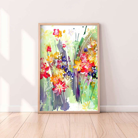Meadow, original watercolor on sale. Ingrid-Sanchez | CreativeIngrid.