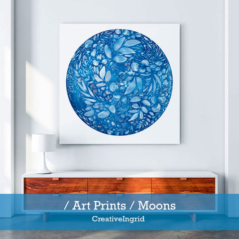 Moon art prints by CreativeIngrid Shop. Watercolor moons on sale.