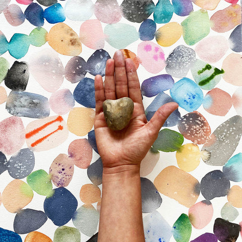 pebble heart watercolor wall art by CreativeIngrid