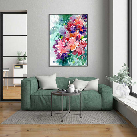 Super Bloom, wall art of large florals by watercolor artist Ingrid Sanchez, AKA CreativeIngrid.