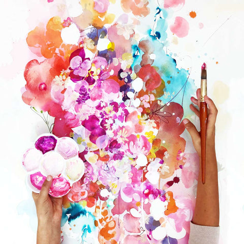 Sweet Dreams, floral mixed media by Ingrid Sanchez.