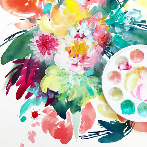 Wild Bouquet, mixed media florals by Ingrid Sanchez.