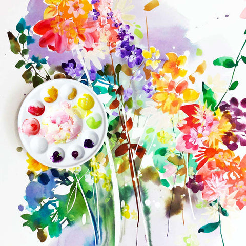 Wildflower, modern art by Ingrid Sanchez. Watercolor on paper, London 2018.