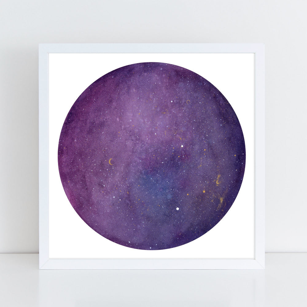 Purple Galaxy Moon - Art Print - CreativeIngrid | Ingrid Sanchez