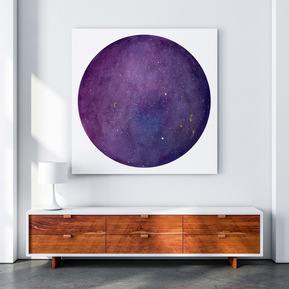 Purple Galaxy Moon, Art Print | CreativeIngrid - CreativeIngrid | Ingrid Sanchez