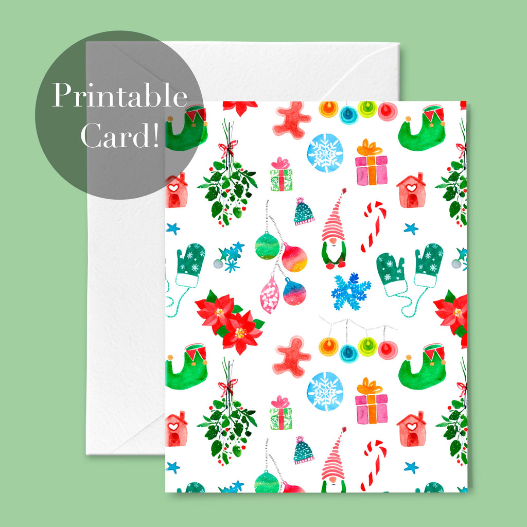 Christmas Pattern, Printable Greeting Card | CreativeIngrid - CreativeIngrid | Ingrid Sanchez