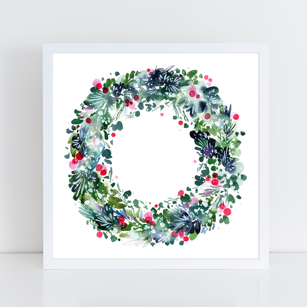 Christmas Wreath - Art Print - CreativeIngrid | Ingrid Sanchez