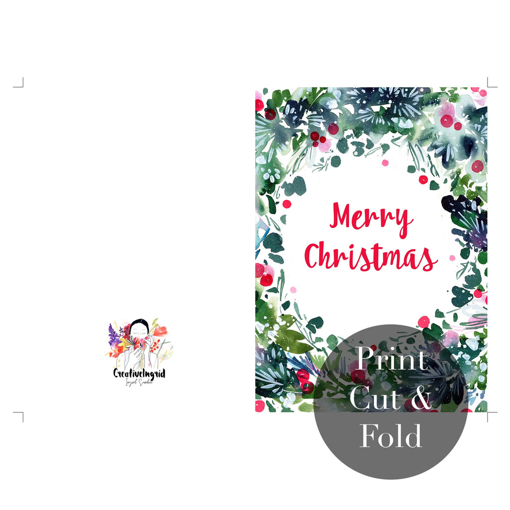 Christmas Wreath, Printable Greeting Card | CreativeIngrid - CreativeIngrid | Ingrid Sanchez