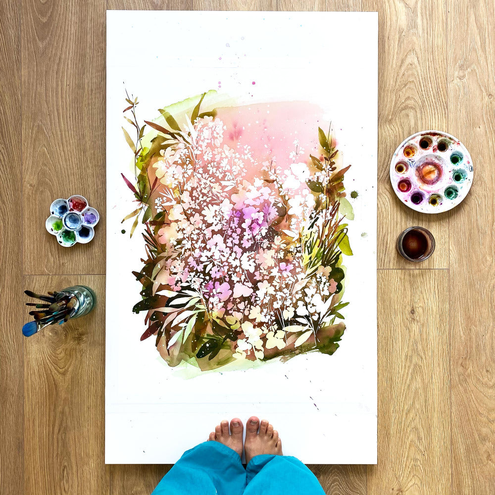 Painting of flowers in different shades from light pink to deep purple over a layer of olive leaves and fresh ground. 'Ground Spell Garden', original Spring art by Ingrid Sanchez, CreativeIngrid. London 2021.