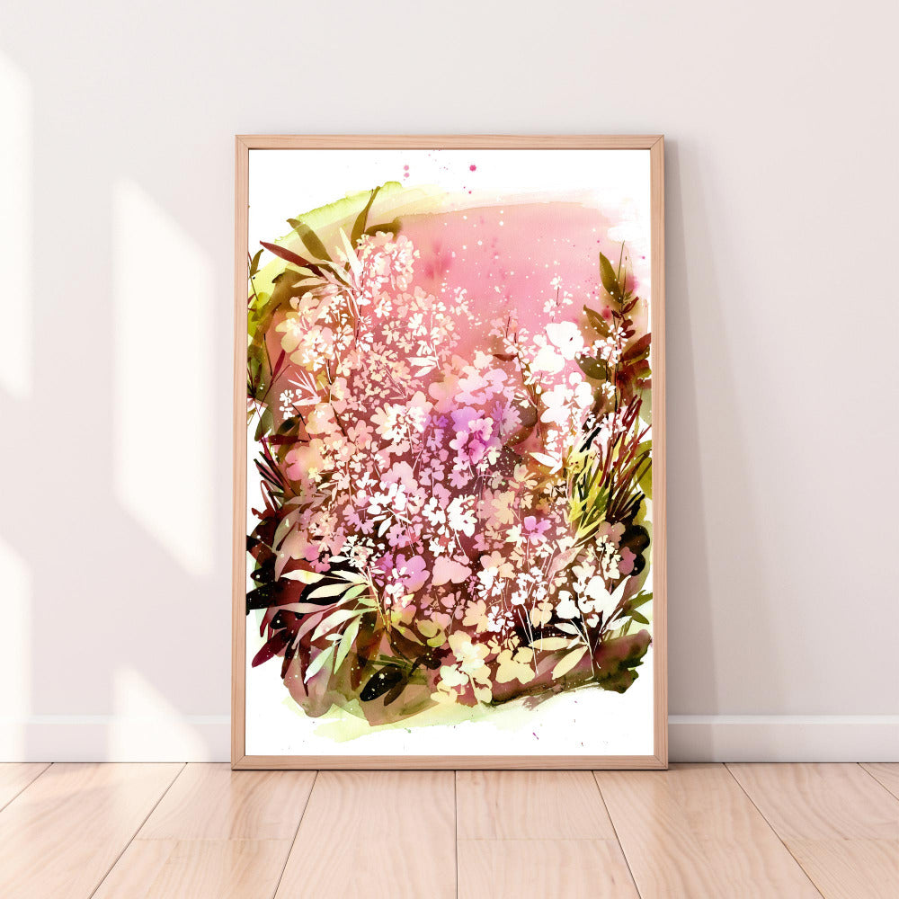 Botanical art print of garden with small flowers in different shades from light pink to deep purple over a layer of olive leaves and fresh ground. 'Ground Spell Garden', Ingrid Sanchez, CreativeIngrid.