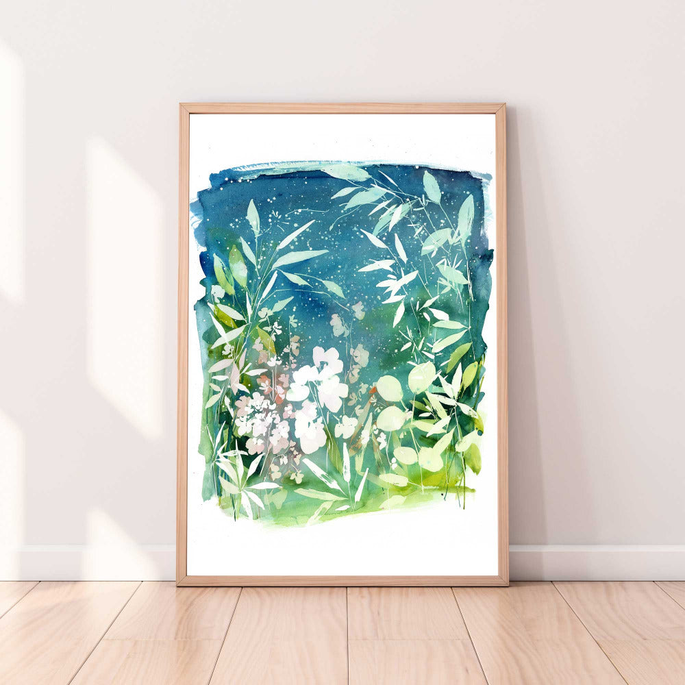 An art print of a garden with intense blue and green shades, and a soft pink in the background. 'Nightfall Garden' by Ingrid Sanchez, AKA CreativeIngrid.