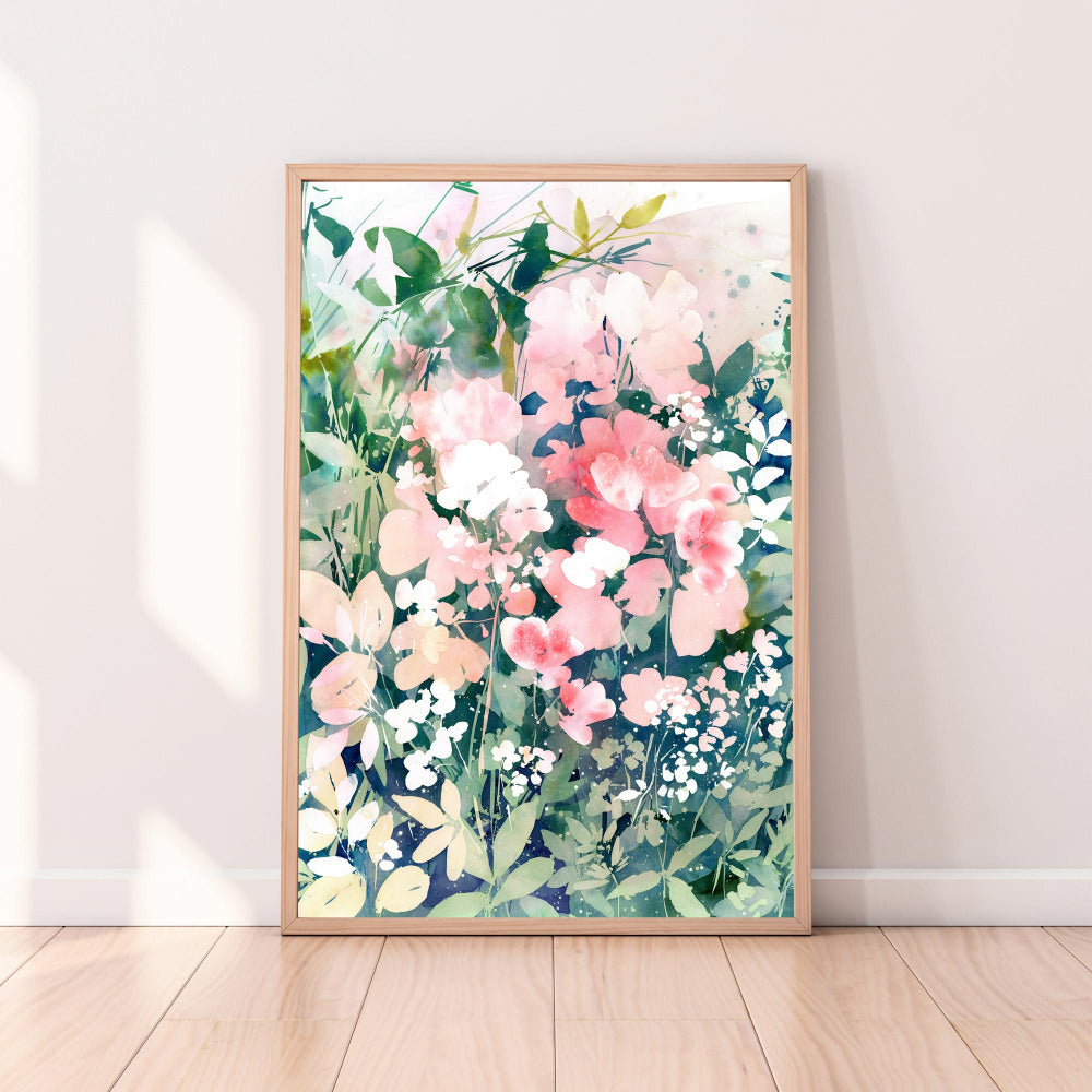 Art print inspired in a morning walk through a garden of flowers, a memory from the gardens of roses in London during Spring. Watercolor art 'Sunrise Garden' by CreativeIngrid.