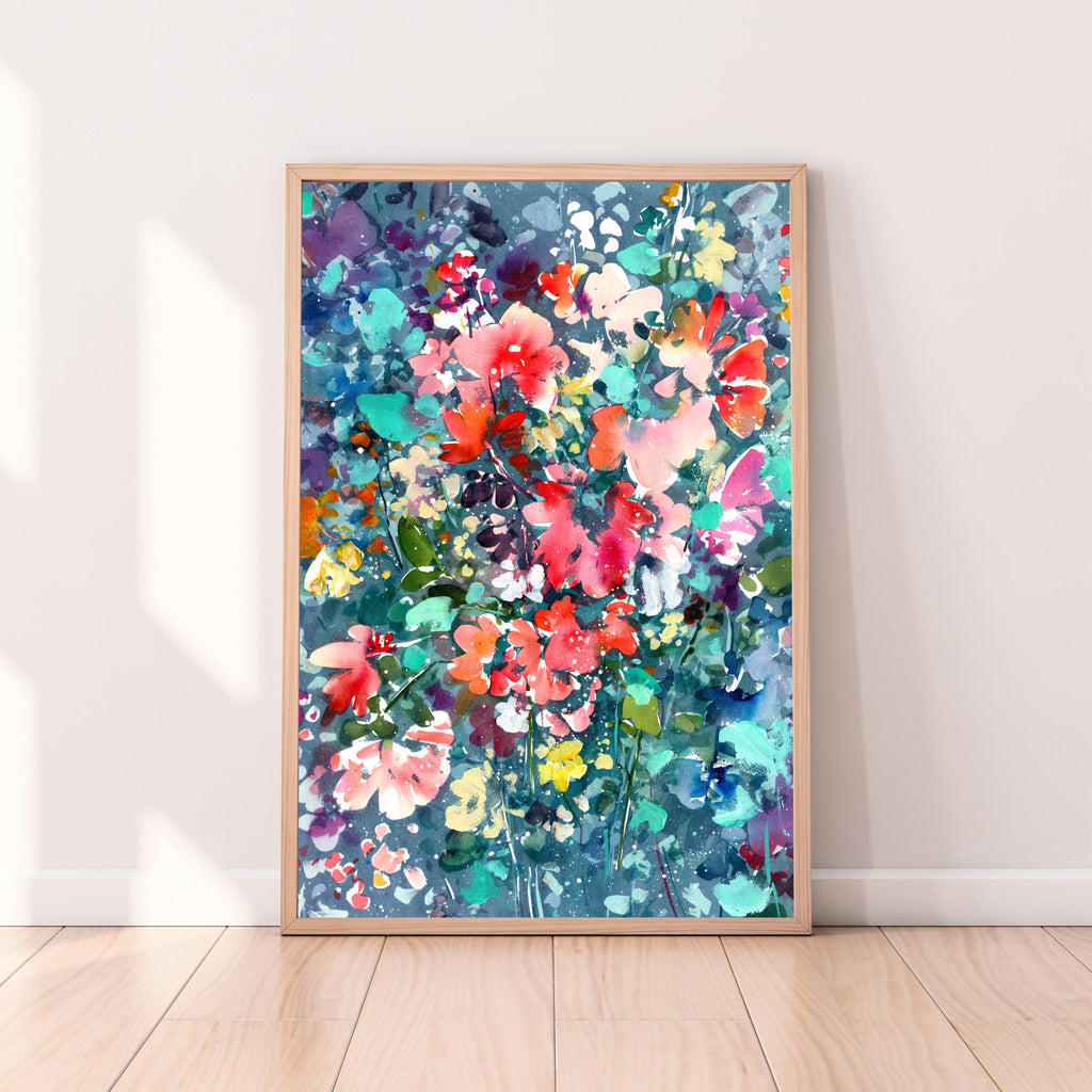'Blooming Night', a turquoise modern botanical watercolor by artist Ingrid Sanchez, CreativeIngrid. London, 2020.