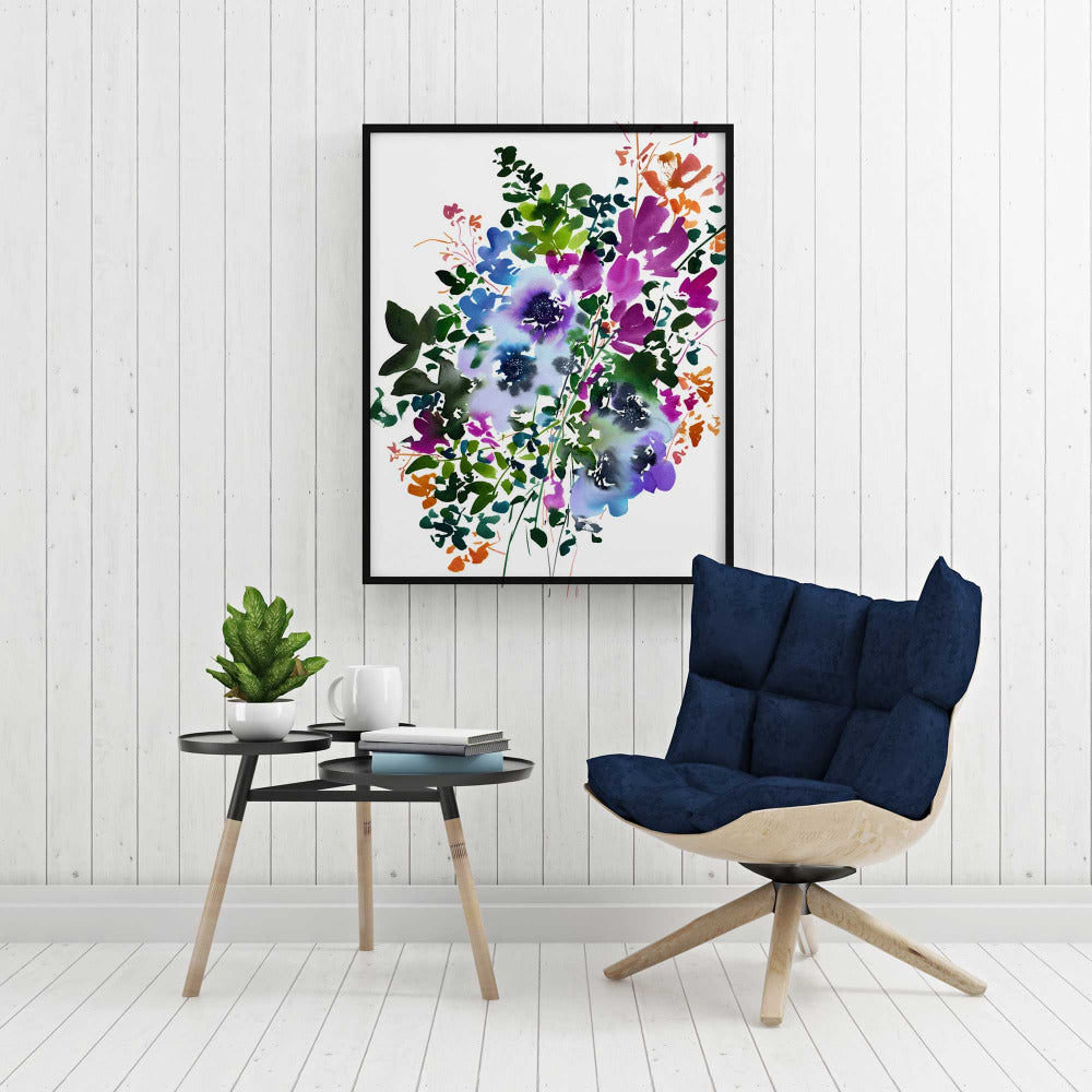 Winter Bouquet: Blue Anemones, Art Print | CreativeIngrid - CreativeIngrid | Ingrid Sanchez