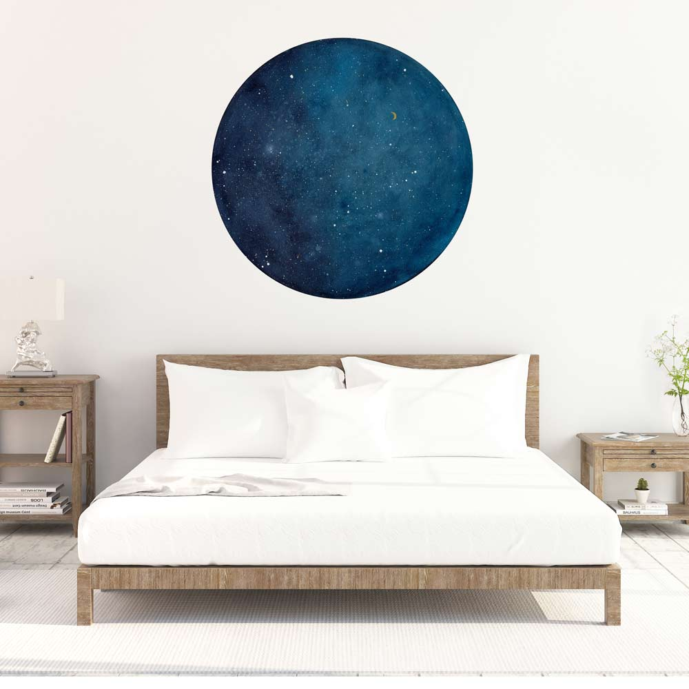 Blue Galaxy Moon Wall Sticker | CreativeIngrid - CreativeIngrid | Ingrid Sanchez