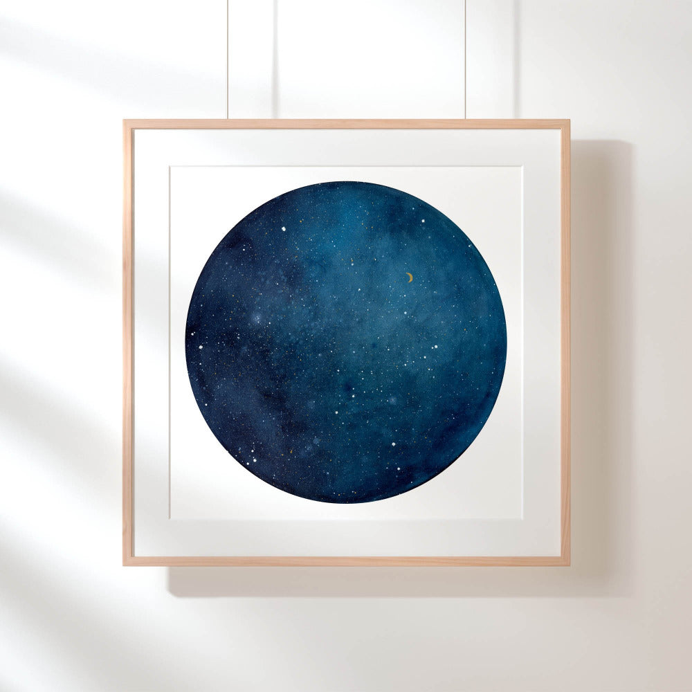 Blue Galaxy Moon - Art Print - CreativeIngrid | Ingrid Sanchez