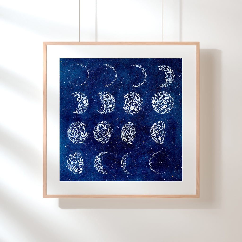 Botanical Moon Chart, Original Art | Ingrid Sanchez - CreativeIngrid | Ingrid Sanchez
