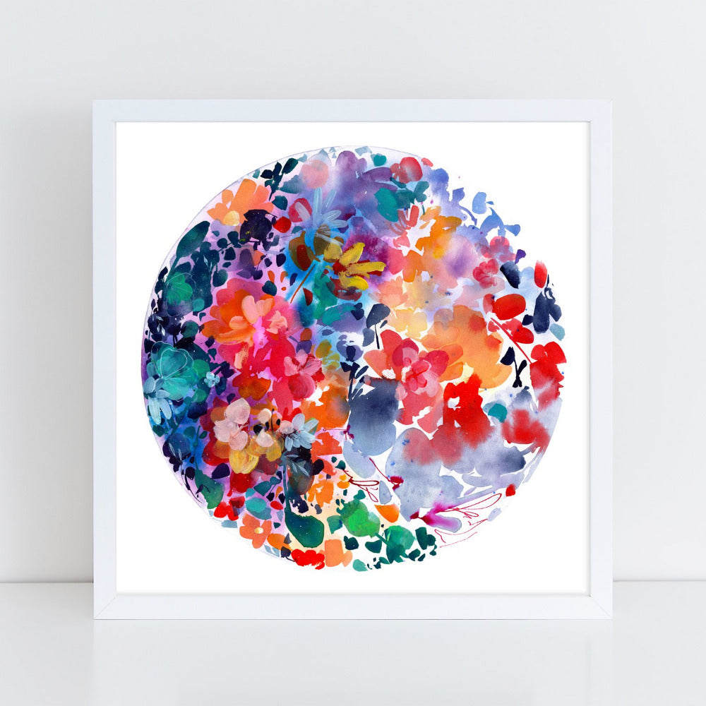 Flower Moon Flourish - Art Print - CreativeIngrid | Ingrid Sanchez