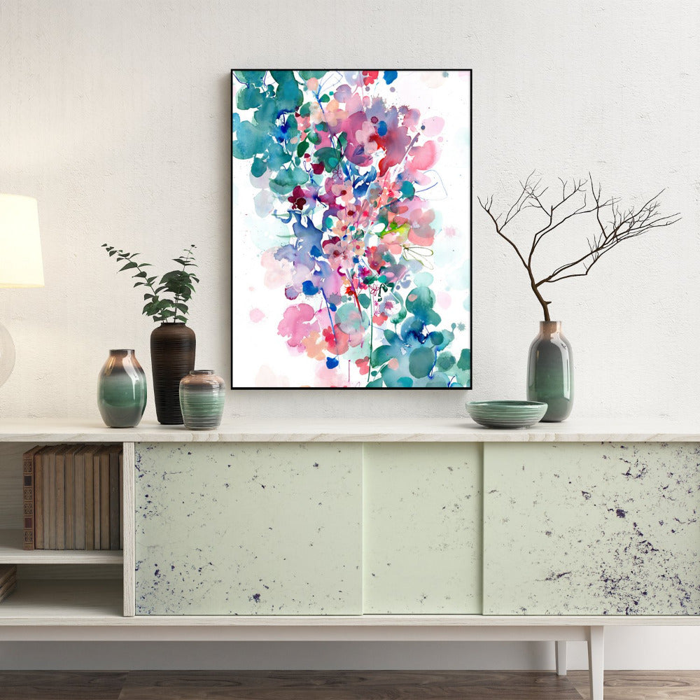 "Modern botanical art print with pink flowers and a turquoise background of leaves and movement.  Art print that showcases original watercolor: ""In Between' (Ingrid Sanchez, London 2018)."
