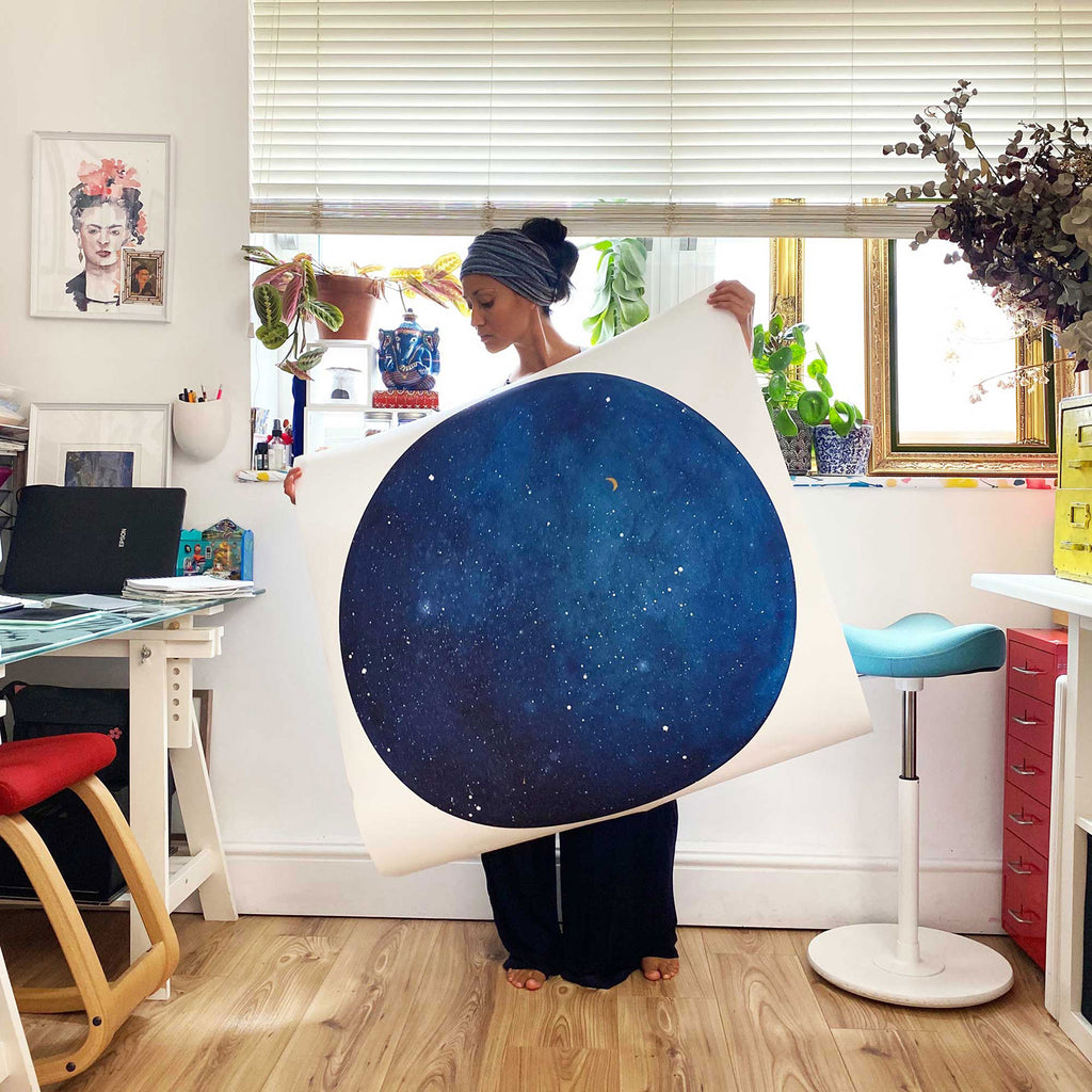 Blue Galaxy Moon, Art Print | CreativeIngrid - CreativeIngrid | Ingrid Sanchez