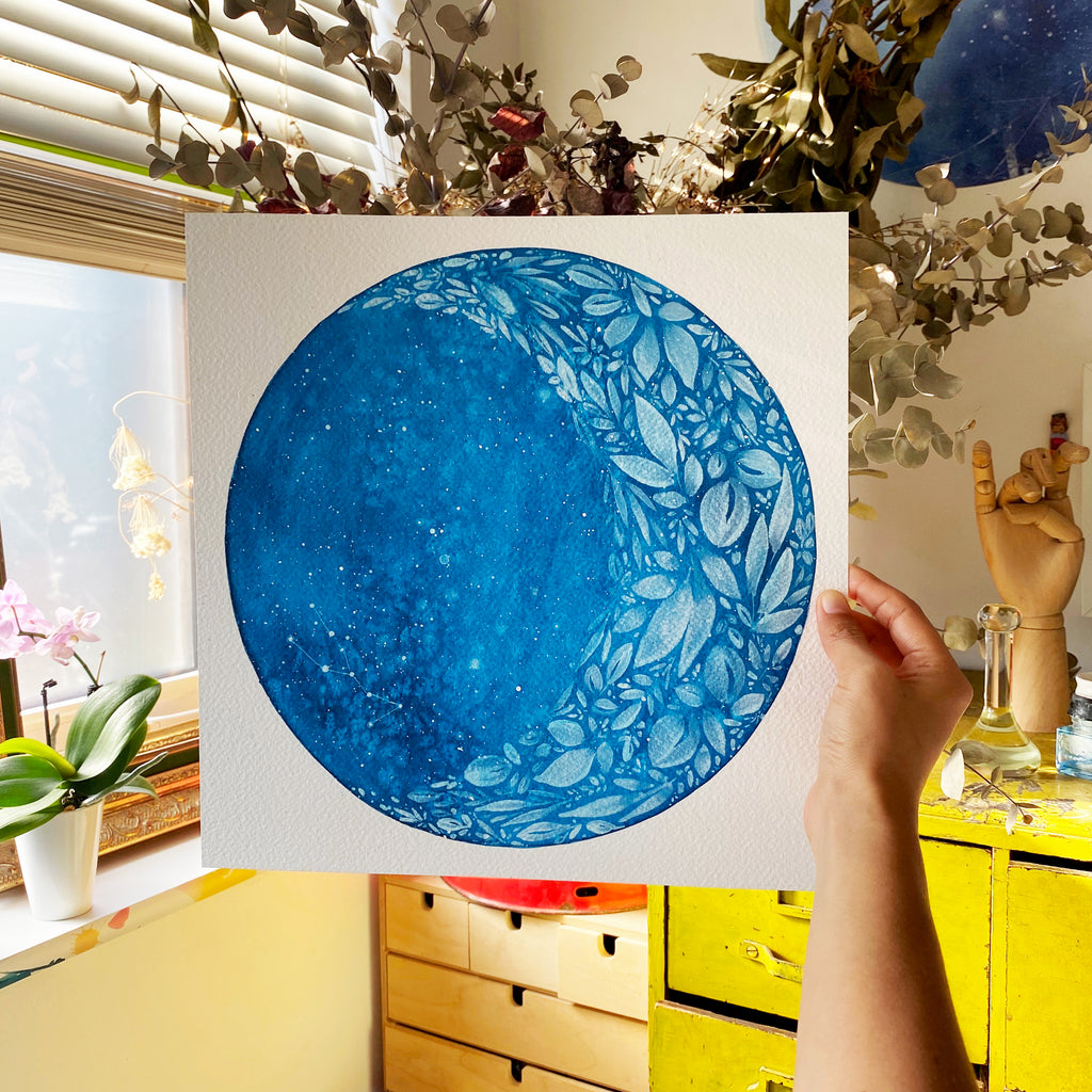Custom Moon Painting - Original Art - CreativeIngrid | Ingrid Sanchez