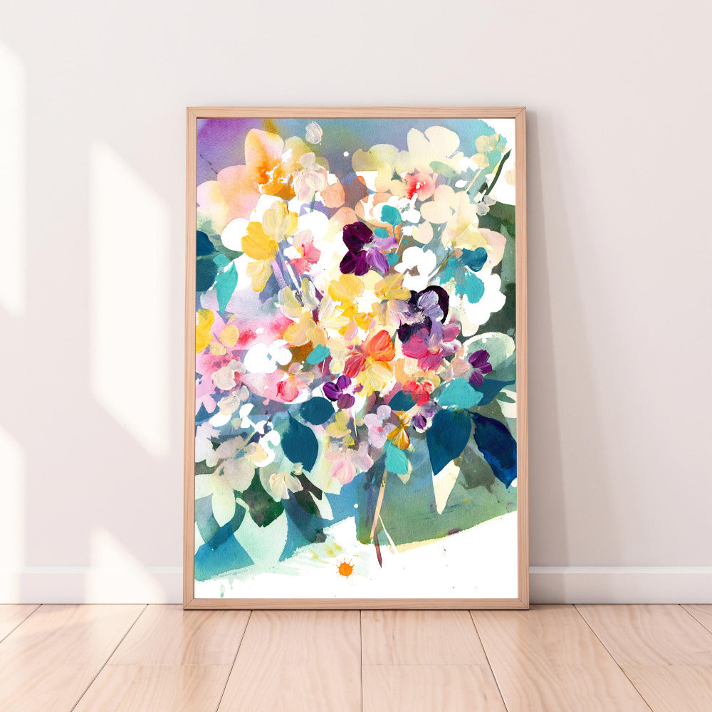 Art print inspired in a perennial garden of pink and yellow flowers flourishing during the first months of the year.  'Petit Perennial'  by Ingrid Sanchez, CreativeIngrid. London 2021.