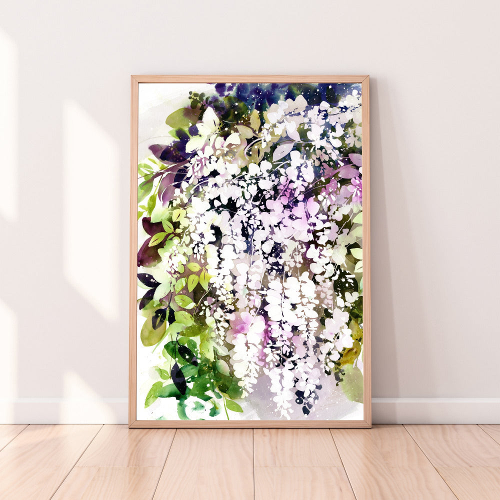 Fine art print of a white wisteria with a purple and green leafy background. 'White Wisteria', Ingrid Sanchez - CreativeIngrid.