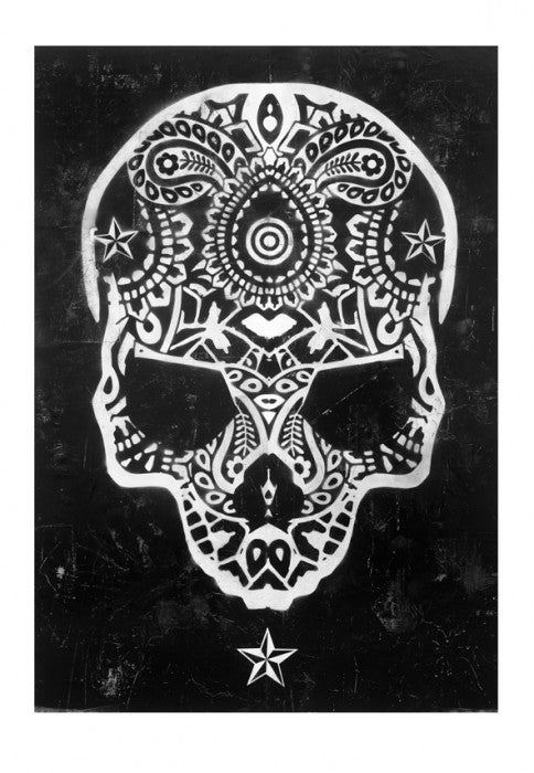 Ben Allen limited edition silkscreen print black & white skull