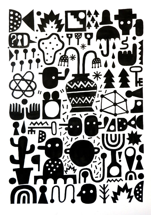 David Shillinglaw Limited edition black & white screenprint of urban shapes