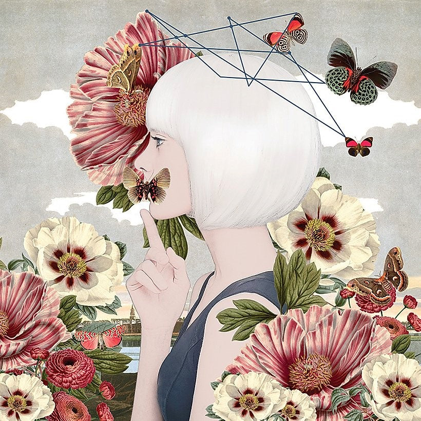 Alexandra Gallagher print of figure & flowers & butterflies
