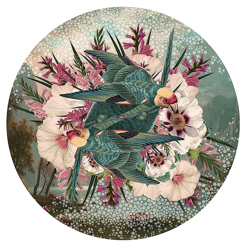 Alexandra Gallagher print of birds & flowers, green & pink