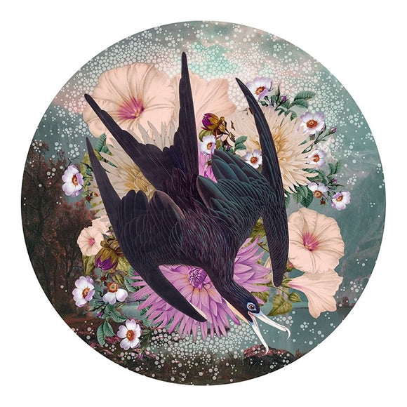 Alexandra Gallagher print of birds & flowers, green & pink, purple
