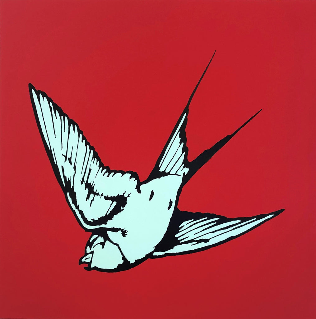 Dan Baldwin limited edition print of Mint green Hummingbird on a red background