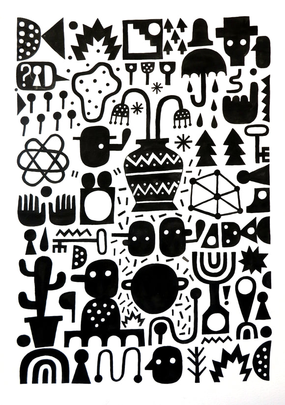 Urban street artist David Shillinglaw Black & white shapes