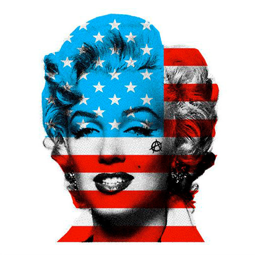 Marilyn Monroe with USA Stars & Stripes flag, red white & blue