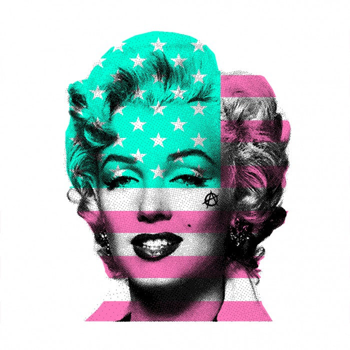 Marilyn Monroe with USA Stars & Stripes flag, mint green & pink