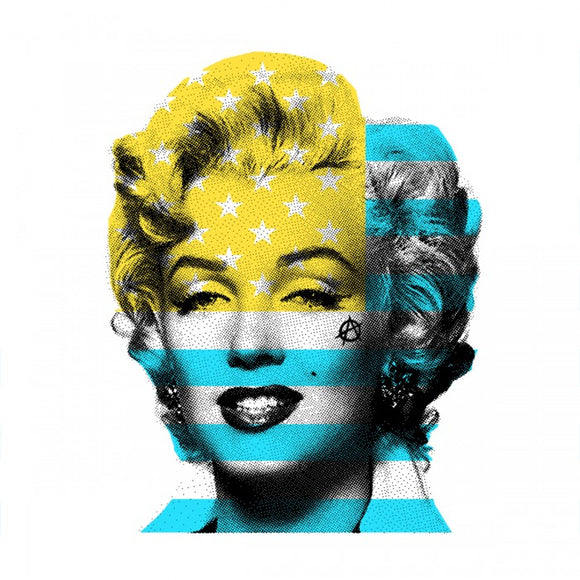 Marilyn Monroe with USA Stars & Stripes flag, light blue & yellow
