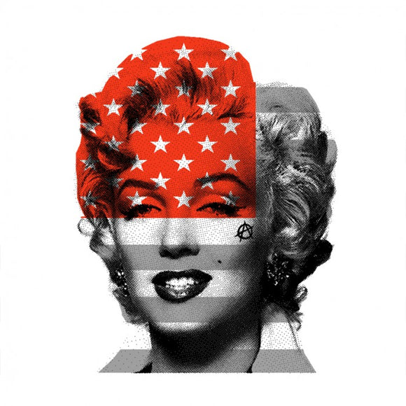 Marilyn Monroe with USA Stars & Stripes flag, red & grey