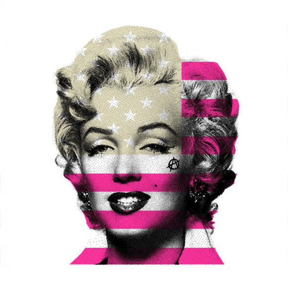 Marilyn Monroe with USA Stars & Stripes flag, bright pink & beige