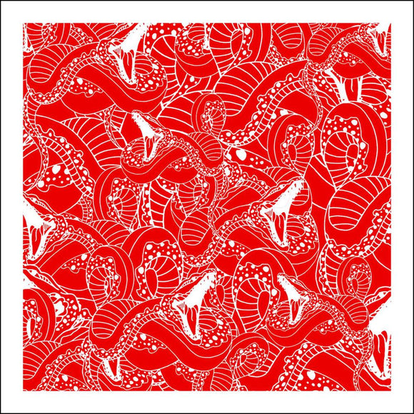 Ben Allen Pop Artist Limited Edition print of abstract snakes in red