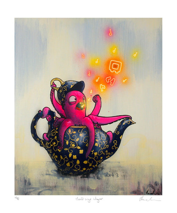 Tom Lewis Manga art - a pink Octopus in a teapot