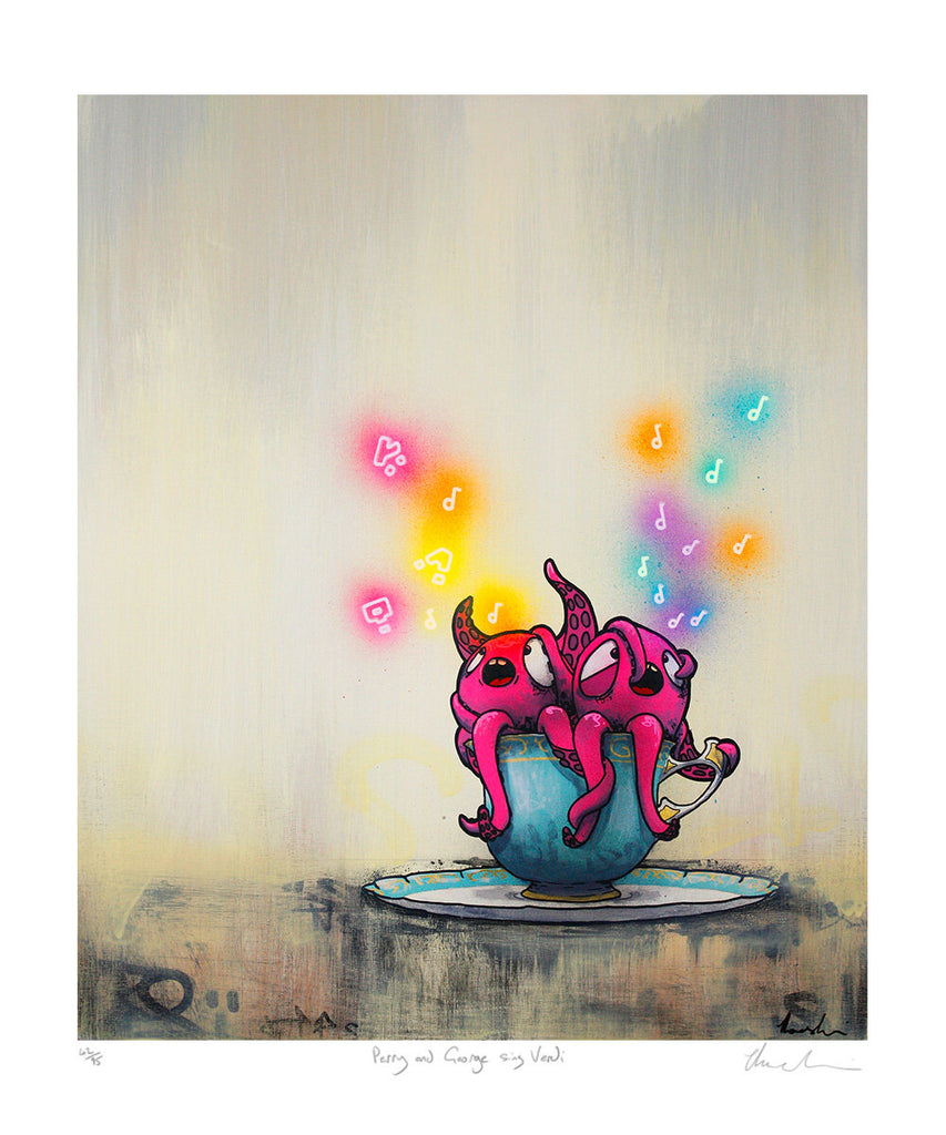 Tom Lewis Manga art - 2 pink Octopuses in a teapot