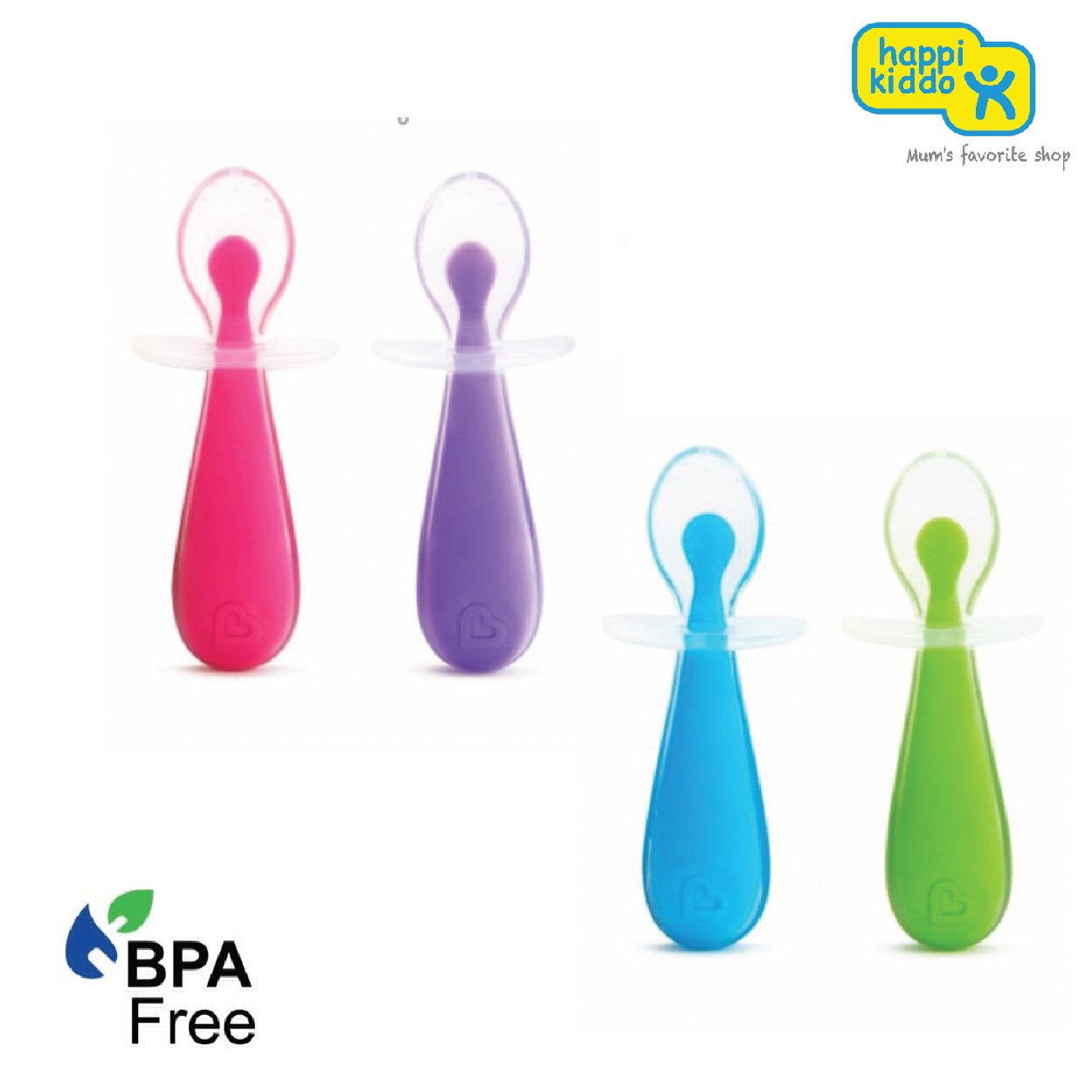 Munchkin Gentle Scoop 2pk Silicone Training Spoons (Assorted Colours)