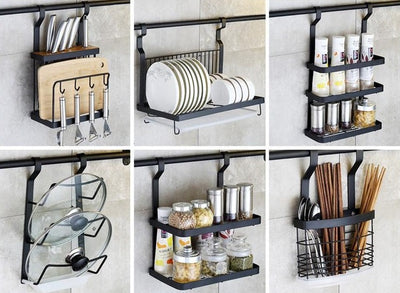 Onyx Black Modern Kitchen Storage Rack by SIA