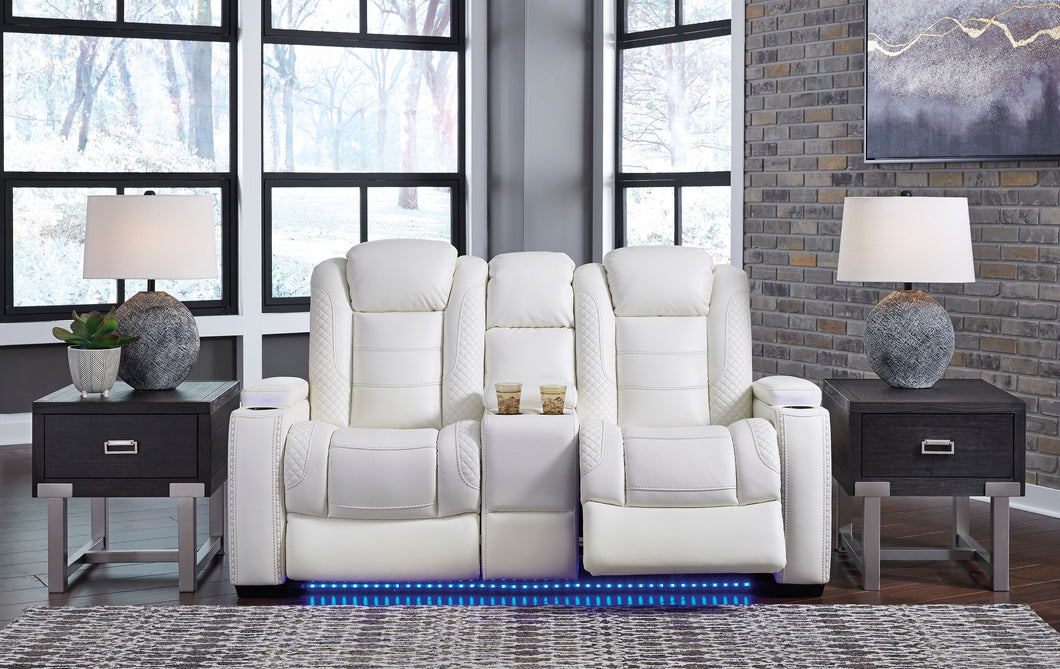 Party Time Power Reclining Loveseat with Console and Adj Head