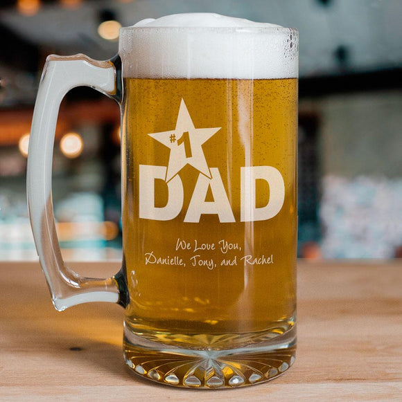 #1 Dad Personalized Sports Glass Mug-Personalized Gifts