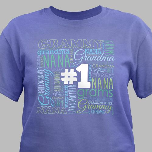 #1 Grandma Violet T-Shirt-Personalized Gifts