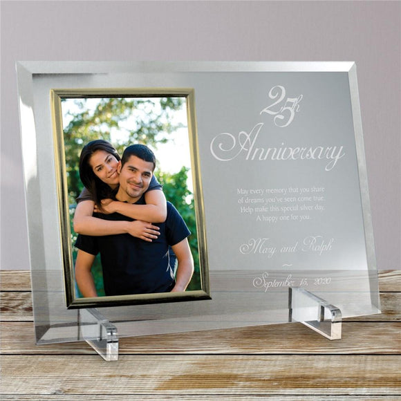 25th Anniversary Beveled Personalized Glass Picture Frame-Personalized Gifts